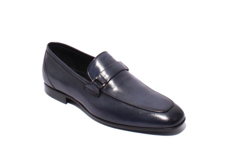 ROBERTO SERPENTINI 27413 Navy Pelle / Elastic Loafers Shoes 44 / US 11