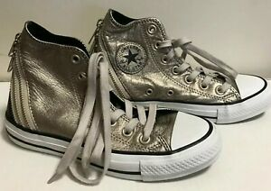 Details about CONVERSE 544917C Chuck Taylor All Star Leather TRI ZIP High Top Grey Black Sz. 3