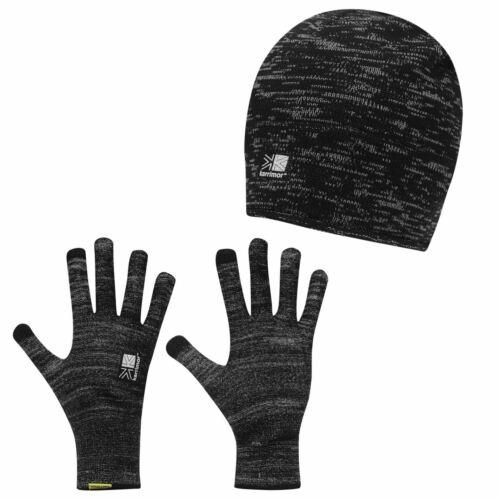 Karrimor Herren Winter Set Handschuhe mit Wintermütze Beanie Laufhandschuhe