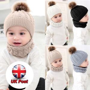 50db1aca0c78 Newborn Kids Baby Boy Girl Fur Pom Hat Knit Bobble Beanie Cap Scarf ...