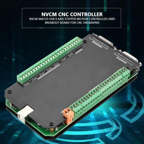 NVCM MACH3 USB 6 Axis Stepper Motion CNC Controller Card Breakout Board HFT