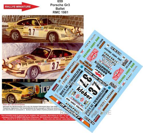 DECALS 1//43 REF 0659 PORSCHE 911 BALLET RALLYE MONTE CARLO 1981 RALLY WRC