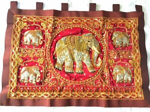 Elephant NICE Thai Culture Tapestry Hand Made RED Sequined Curtain Wall Hang