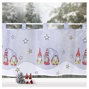 Scheibengardine Weihnachten Deko Gardine Wichtel Sterne Fensterdekoration Typ651