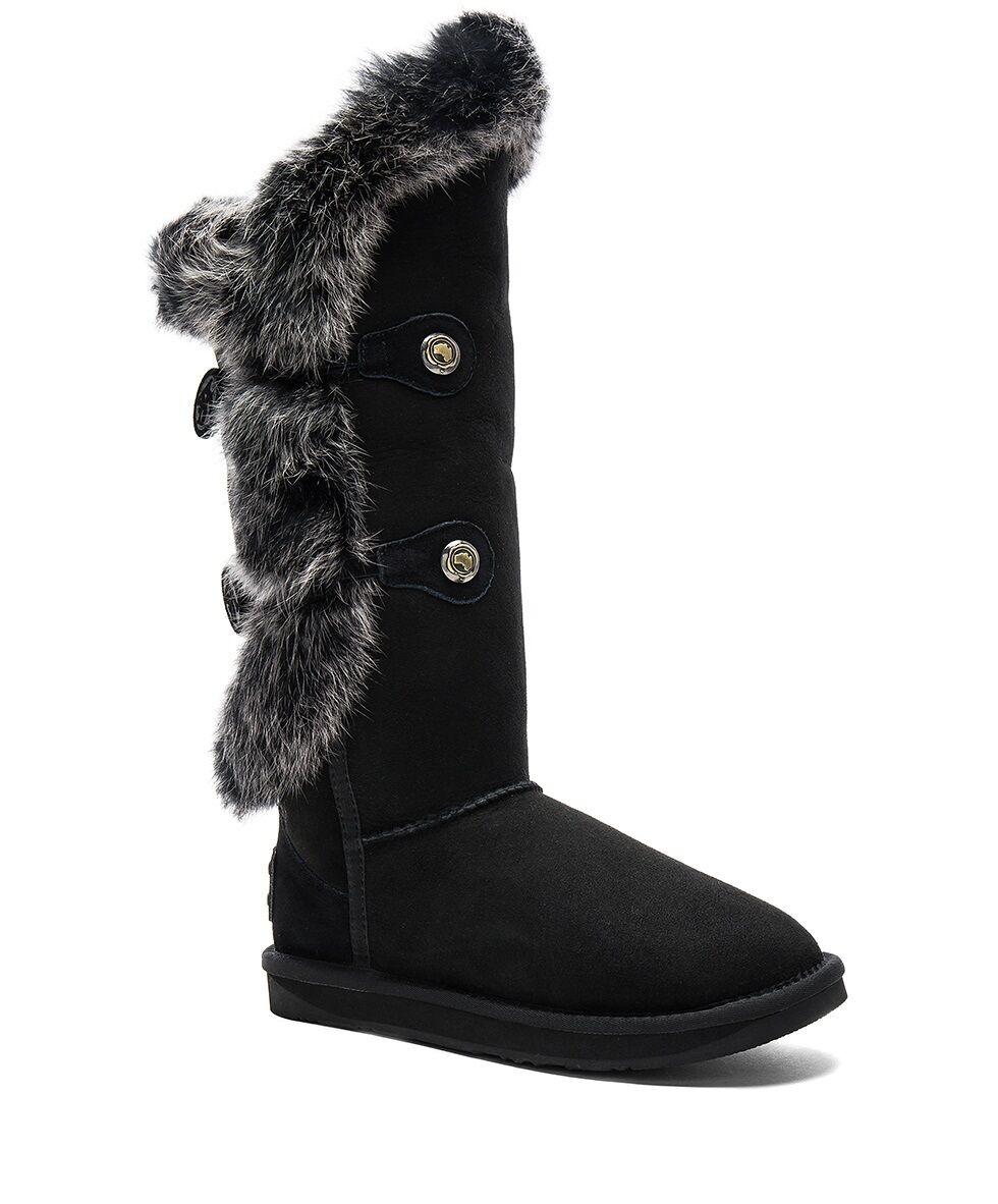 AUSTRALIA LUXE Nordic Tall Winter Boots Women's Rabbit Fur Warm Snow Fashion