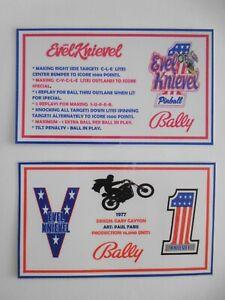 * * 'EVEL KNIEVEL' Bally 1977 Custom Instruction/Apron Cards * * (New)