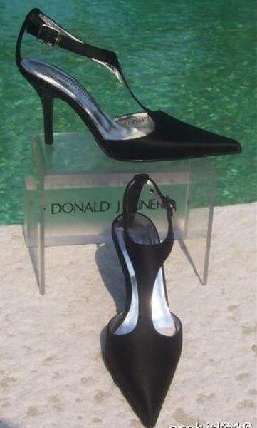 Donald Pliner Couture Leather Pump shoes New Size 6 Black Satin T Strap  350 NIB
