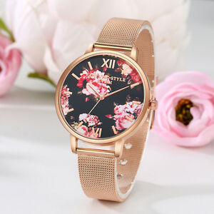 Women-Luxury-Flower-Printed-Round-Dial-Analog-Quartz-Wrist-Watch-Jewelry-Dulcet