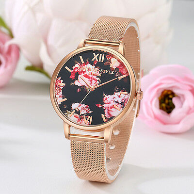 Women Luxury Flower Printed Round Dial Analog Quartz Wrist Watch Jewelry Dulcet
