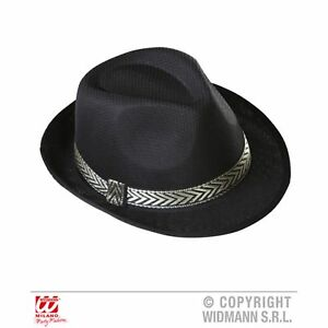 Black Panama Fedora Trilby Hat Cowboy Western Fancy Dress Costume ... 59cc8e1f7826