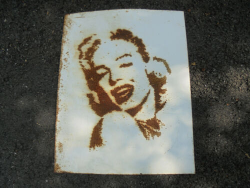 "Industrial Marilyn Monroe Steel Plate Art Sculpture with Drilled Holes 20"" x 25"""