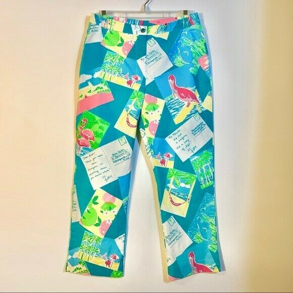 Rare Vintage Lilly Pulitzer Post Cards Print Pants Size 4