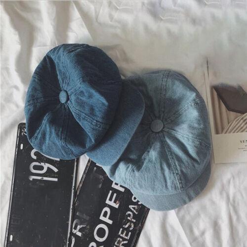 Women Denim Newsboy Cap Winter Octagonal Caps Beret Vintage Hat Non Adjustable