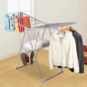 Laundry Clothes Storage Drying Rack Portable Heavy Duty Folding Dryer Hanger