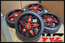 "18"" Gianna Blitz Gloss Black w/ Red Insert Cover 18x7.5 4x100 Wheels Rims Tires"