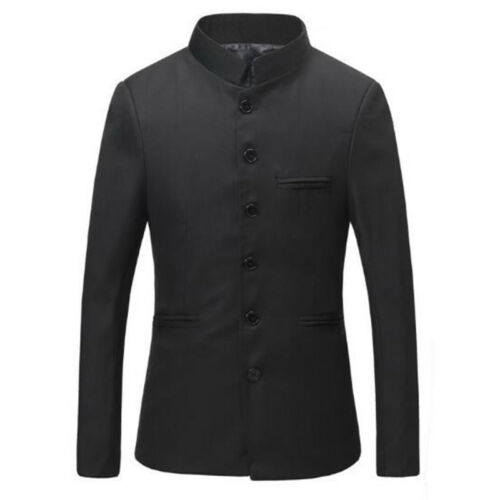 Mens Stand Collar Chinese Formal Dress Traditional Black Suit Jacket Tang Jacket