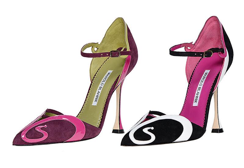 1025 New Manolo Blahnik Tangeri Pink Patent Burgundy Suede Pea Green shoes 39.5