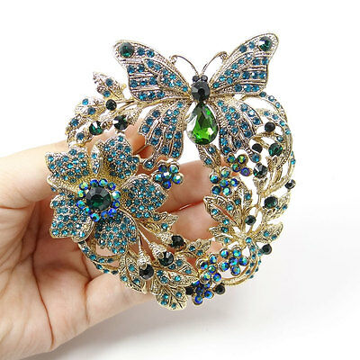 "Mother's Day 3.9"" New Butterfly Flower Pin Brooch Green Austrian Crystal"