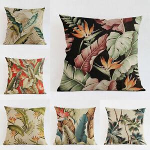 18-Sofa-Home-Decor-Square-Cushion-Cover-Throw-Pillow-Case-Tropical-Plant-Leaves