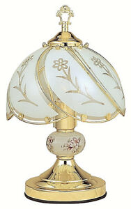 White-glass-Floral-Brushed-Gold-finish-3-way-Touch-Lamp-14in-H