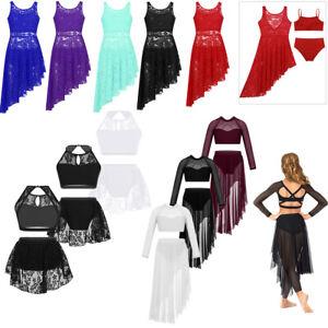 Girls-Kids-Lyrical-Ballet-Latin-Dance-Dress-Gymnastics-Leotard-Dancewear-Costume