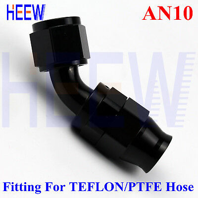 AN-10 90 Degree Alloy Reusable Swivel Hose End Teflon AN-10 PTFE Fuel Hose Black