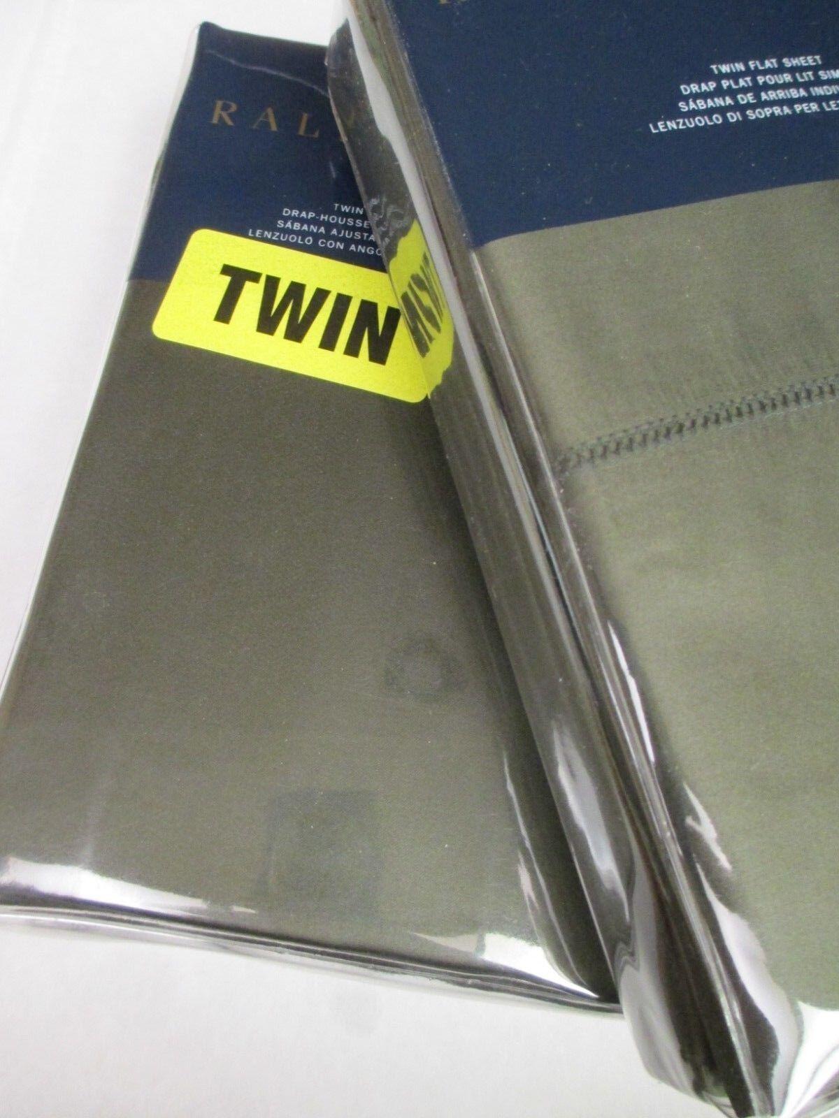 Ralph Lauren 624 Solid Sateen Tweed verde 2pc Flat & Fitted Sheets - Twin