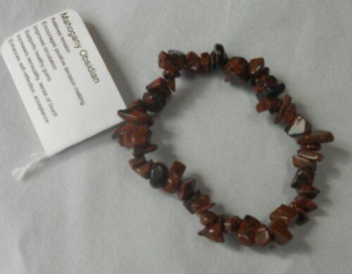 Natural Obsidian Chip Bracelets by Healing Light Stones Mahogany Snowflake Black