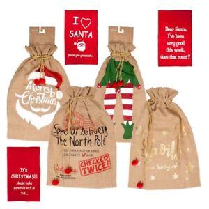 Hesse de Santa Sack pour les cadeaux de No/ël Vintage Noel