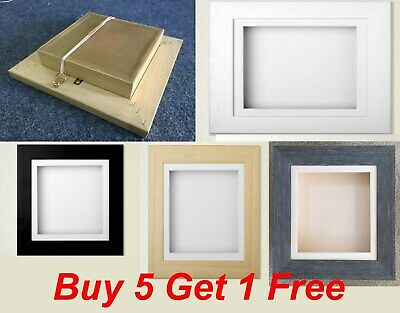 3D Deep Box Picture Frame Grey Silver gold Display Medals Memorabilia Flowers