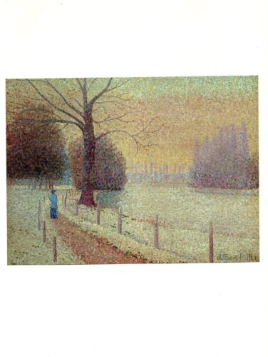 """1977 Vintage IMPRESSIONISM /""""RIVERBANK IN WINTER/"""" by DUBOIS-PILLET Art Lithograph"""