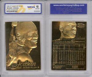 Lot-of-3-1996-MICHAEL-JORDAN-FLEER-SHOWCASE-23K-GOLD-CARD-GRADED-GEM-MINT-10