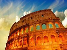 PHOTO LANDMARK COLLOSEUM ROME ITALY GOLD LIGHT CLOUDS POSTER PRINT BMP10218