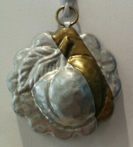 Vintage Aliminium  Small Pie/Jelly Mould Friut Decoration. Wall Hanging Hook   d