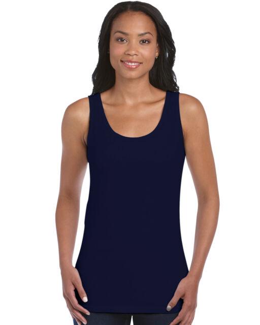 New Gildan Ladies Soft 100% Cotton Tank Top Vest (Free P&P)