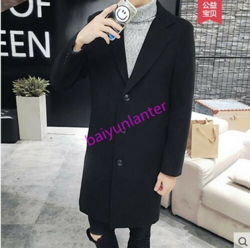 Mens Wool Blend Lapel Jacket Mid Long Casual Slim Three Buttons Winter Coat Chic