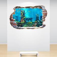 Aquarium Tropical Fish Smashed Wall Sticker 3D Decal Sea Under The Ocean Bedroom
