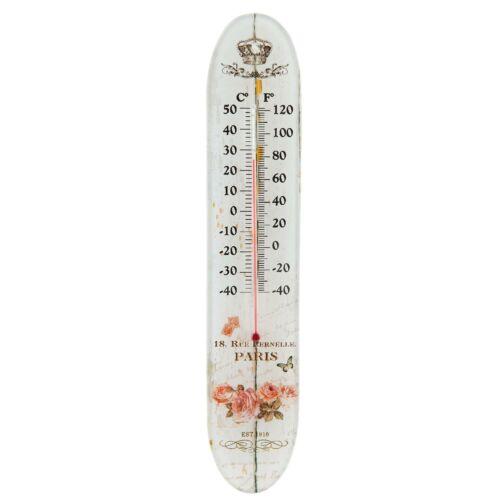 Thermomètre Verre Paris Roses Couronne 18,rue PERNELLE vintage Clayre /& FED 63537