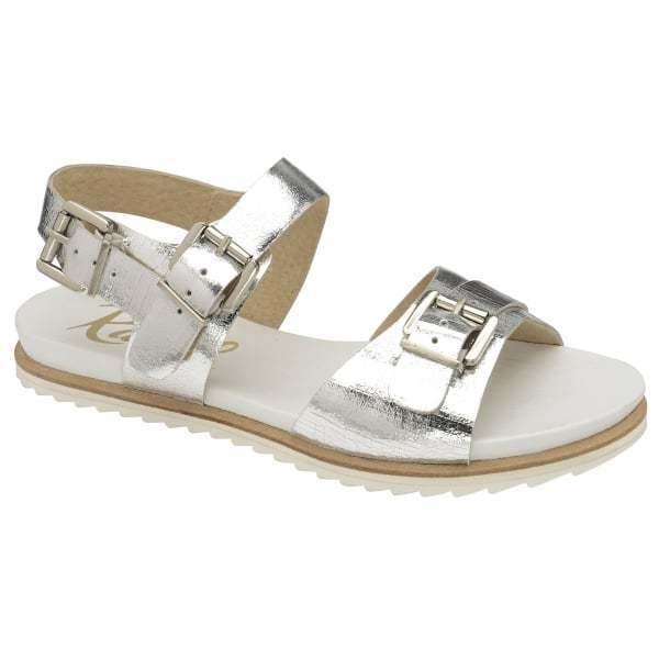 Ladies Ravel Moab Silver Leather Summer Beach Flat Roman Gladiator Sandals UK 5