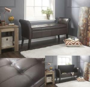 Pu-Leather-Window-Seat-Sofa-Bench-Storage-Stool-Chaise-Lounge-Ottoman-Brown-Seat
