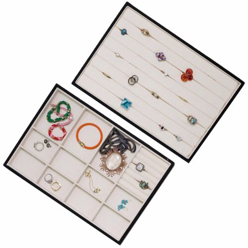 Jewelry Tray Organizer Stackable Canvas Display Drawer Closet - 2 Pieces