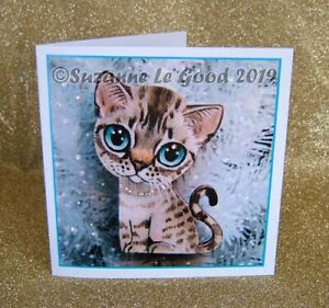 Snow-Bengal-Cat-kitten-painting-Christmas-card-glitter-original-Suzanne-Le-Good