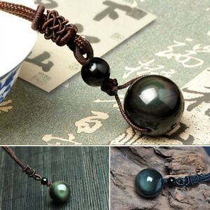 Unisex-Natural-Stone-Black-Obsidian-Rainbow-Eye-Beads-Lucky-Pendant-Necklace