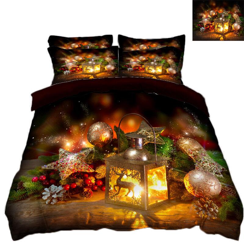 3D Christmas Xmas 725 Bed Pillowcases Quilt Duvet Cover Set Single Queen AU