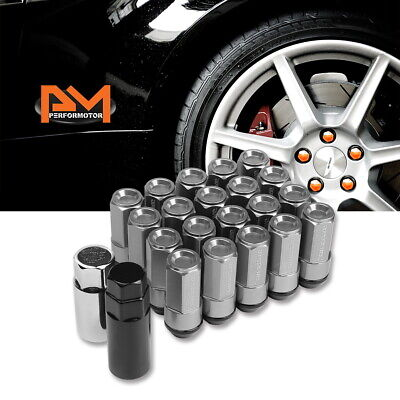 JDM M12X1.25 23mm OD 53mm Tall Silver Aluminum Wheel Lug Nuts W//Cap+Adapter 20Pc