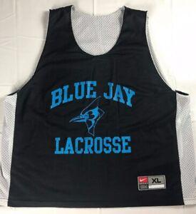 Blue-Jay-Lacrosse-Jersey-Mens-XL-Nike-Johns-Hopkins-Black-Blue-Shirt-Mesh-Adult