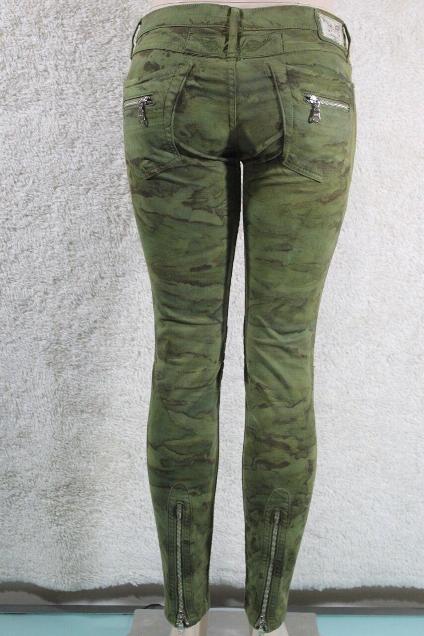Neu Damen Robin S Jeans Skinny Sz 29 Moto 8 Taschen 7 Zipers Grüner Tarnung
