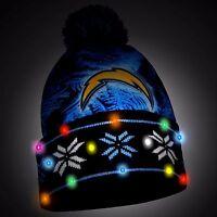 San Diego Chargers Big Logo Light Up Printed Beanie Winter Hat Cuffed Pom