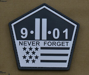 PVC-Rubber-Patch-034-Never-Forget-9-11-01-034-With-Velcro-Brand-Gancho