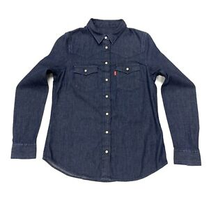 Levi-039-s-Women-039-s-Long-Sleeve-Denim-Shirt-In-Dark-Navy-Size-XS